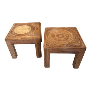 Vintage Tropical Boho Palm Beach Pencil Reed Rattan Stools / Coffee Tables - A Pair For Sale