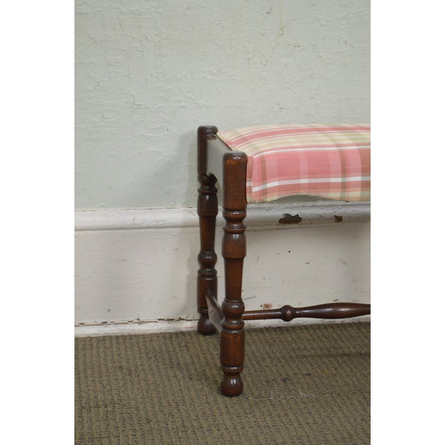 Yellow William & Mary Style Bobbin Turned Walnut Stools or Benches - A Pair For Sale - Image 8 of 13