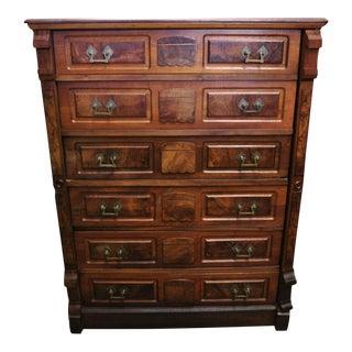 19th Century Antique Eastlake Victorian Lock Side Walnut Dresser For Sale