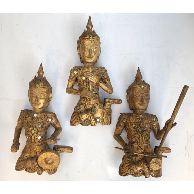 Wood Giltwood Thai Figures of Siamese Musicians, Set of 3 For Sale - Image 7 of 7