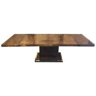 Beautiful Large Burl Wood Brass-Mounted Monolith Pedestal Dining Room Table