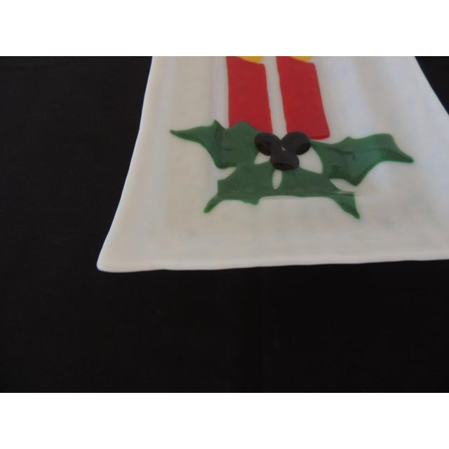 """Vintage holiday milk glass serving tray with candles and holly. In shades of red, yellow, blue and green. Size: 8.5"""" W x..."""