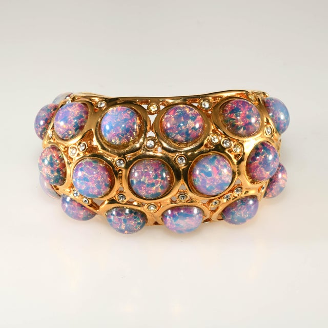 Contemporary K.J.L. Bracelet Hinged Cuff Faux Opals For Sale - Image 3 of 6