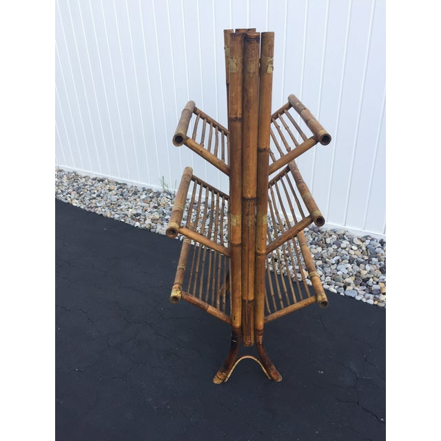 Vintage Bamboo Folding Book Rack - Image 4 of 11