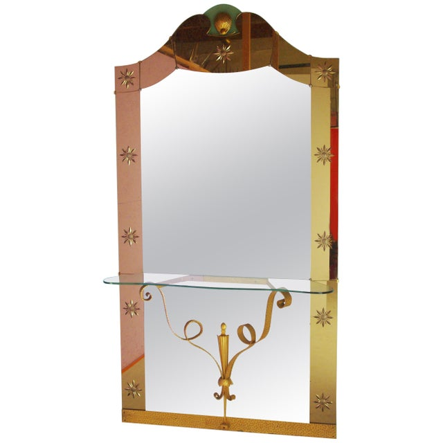 Italian Mirror With Console by Pier Luigi Colli For Sale - Image 9 of 9