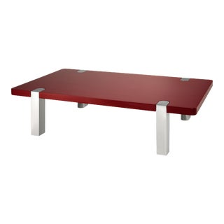 Rita Konig Collection Chapman Coffee Table Nickel Legs in Bordeaux Red For Sale