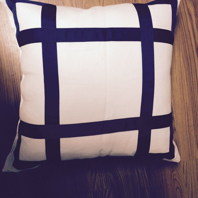 Navy Ribbon Pillow - A Pair - Image 4 of 4