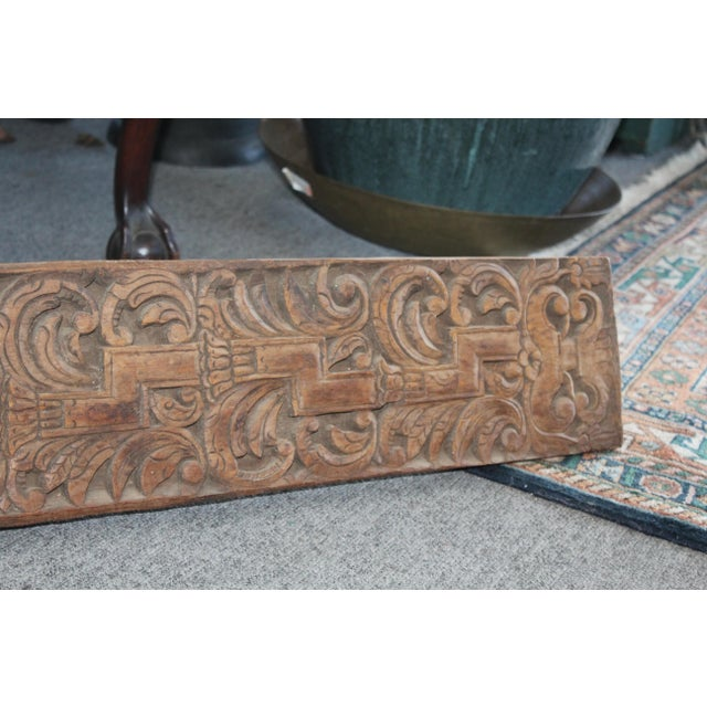 Indonesian late 1800s hand carved tropical hardwood panel. Unique for the tropical home!