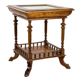 19th Century English Edwardian Carved Flip Top Occasional Table For Sale