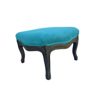 Antique French Teal/Turquoise Velvet Footstool Paris Apartment Carved French Footstool Large French 'Footstool For Sale