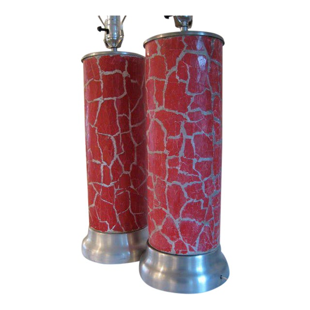 A Pair of Column Lamps by Bouck White In Crackle For Sale