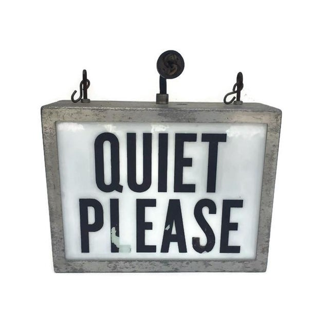 Underwriters Laboratories Mid Century Modern Light up Wall Sign Hanging Sign Quiet on the Set For Sale - Image 4 of 9