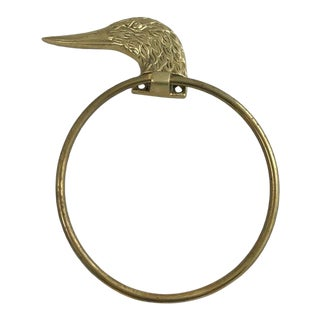 Vintage Mid-Century Modern Traditional Brass Duck Head Towel Ring Holder For Sale