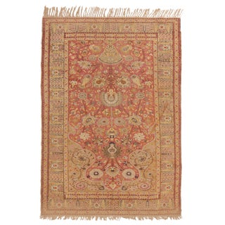 Late 19th Century Antique Gordes Tea Green and Pink Wool Rug - 4′1″ × 6′ For Sale
