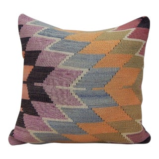Vintage Turkish Kilim Rug Pillow For Sale