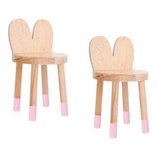 Nico & Yeye Lola Kids Chair Solid Maple and Maple Veneers Pink - Set of 2 For Sale