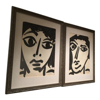 Peter Keil Matching Cubist Faces Oil Paintings - a Pair For Sale