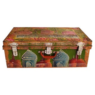1950s Regency Indian Hand-Painted Steel Trunk For Sale