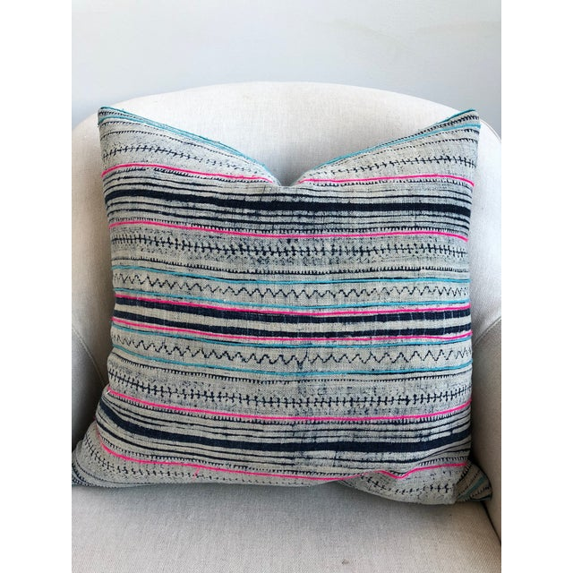 Pink and Navy Striped Pillow For Sale - Image 5 of 5