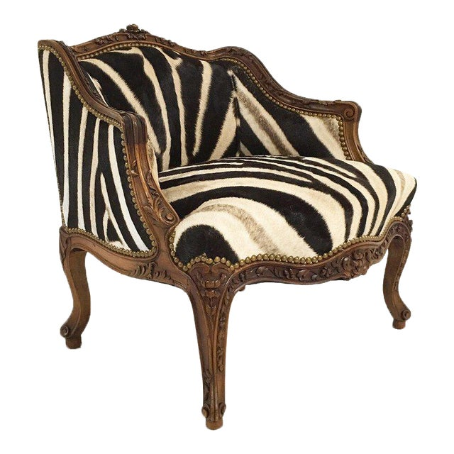 Vintage Carved Chair in Zebra Hide - Image 1 of 11
