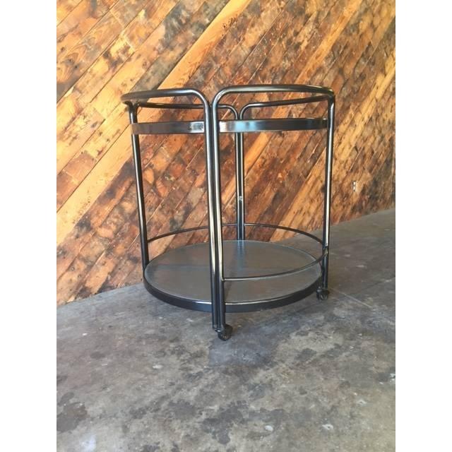 Rolling Outdoor Metal Glass Bar Cart - Image 5 of 6