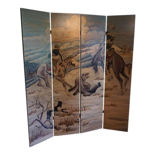 Vintage Mid Century Hand Painted Room Divider Screen For Sale