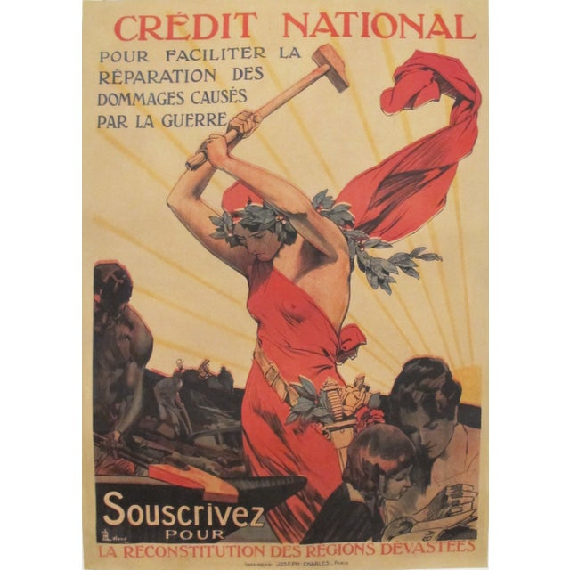 1920 French Vintage Propaganda Poster, Credit National - Image 6 of 6