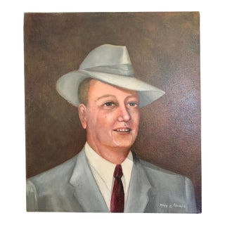 Man in Suit and Fedora Portrait Painting For Sale