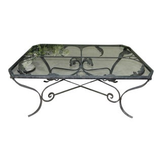 Rustic Iron Cocktail or Coffee Table With Glass Top For Sale