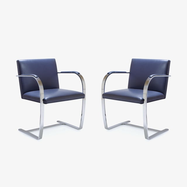Mies Van Der Rohe for Knoll Brno Flat-Bar Chairs in Navy Leather, Pair - Image 2 of 11