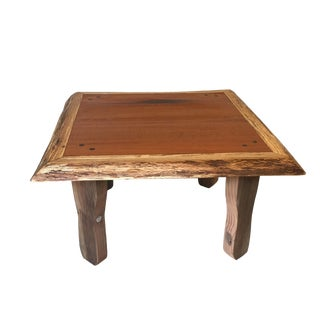 Boho Chic Rustic Live Edge Wood Coffee Table For Sale