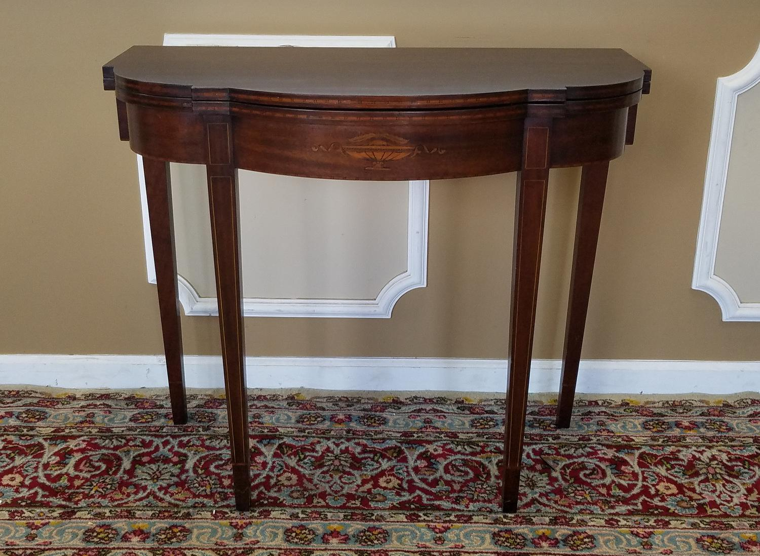 Mahogany Sheraton Style Paine Furniture Flip Top Console Hallway Table  C1940s   Image 3 Of 11