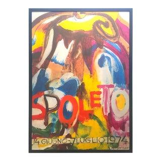 """Willem De Kooning Vintage 1974 Abstract Expressionist Lithograph Print Framed """" Spoleto Festival """" Poster For Sale"""