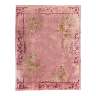Contemporary Hand Woven Rose Floral Wool Rug - 8'10 X 11'7