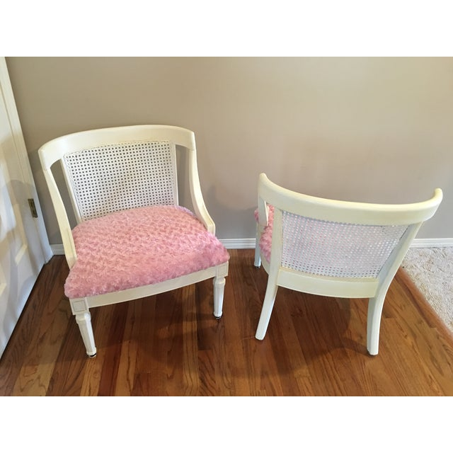 Vintage Pink Textured Rosebud Chairs - A Pair - Image 3 of 5