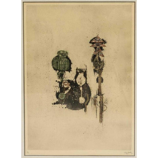 """Framed aquatint on paper, """"In Euclid's Garden,"""" numbered 70/95, pencil signed lower right Johnny Friedlaender. (Johnny..."""