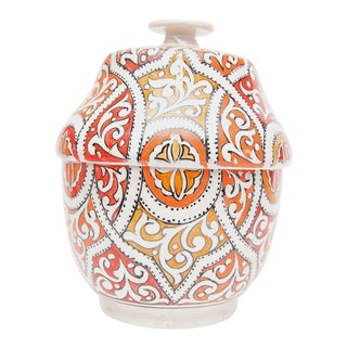 Round Moroccan Ceramic Jar with Lid For Sale