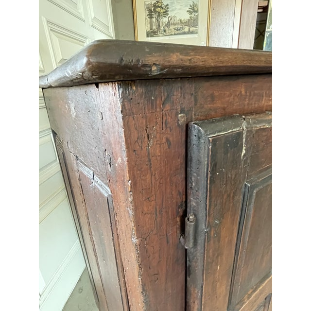 Brown Antique Rustic French Country Louis XIV Hardwood Two Door Storage Cupboard For Sale - Image 8 of 13