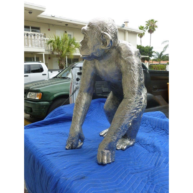 1970s 1970s Modern Life Size Nickel Plated Bronze Chimpanzee Statue For Sale - Image 5 of 13