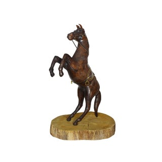 Handmade Leather Horse Standing on Hind Legs With Saddle Figurine on Wooden Base For Sale