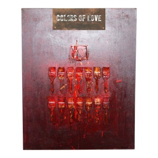 Contemporary Original Colors of Love Painting Collage by T. H. Muller Signed For Sale