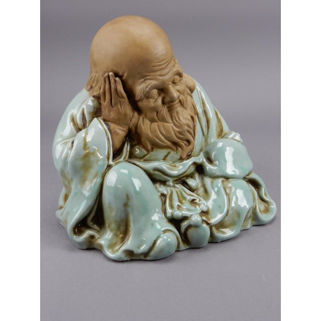 Incredible Japanese Kutani Celadon Glazed Fukurokuju Statue For Sale - Image 6 of 13