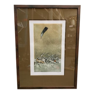 "20th Century Hiroki Asada ""Le Ciel, La Plume"" Limited Edition Signed Hand Colored Engraving, Japan For Sale"