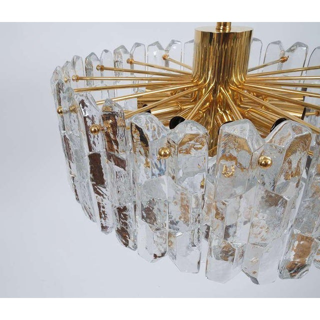 J.T. Kalmar Gold Brass Tiered Crystal Glass Chandelier Palazzo Lamp, circa 1960 For Sale - Image 9 of 10