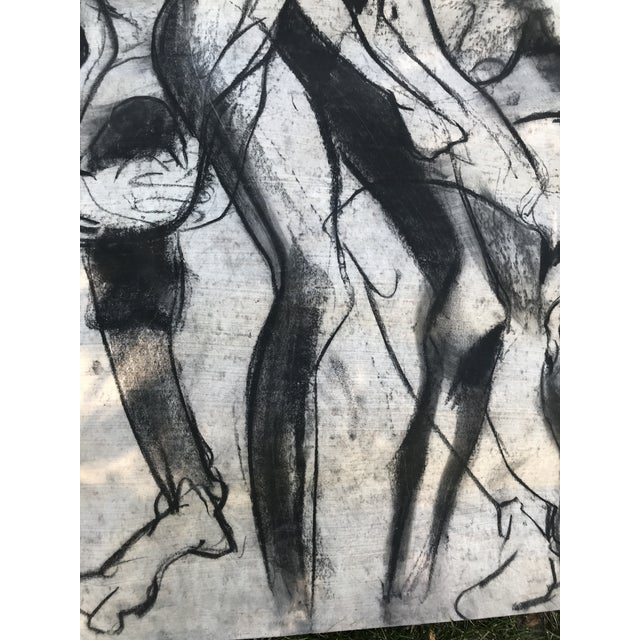 1950s 1950s Vintage Chalk Man & Woman Nudes Large Abstract Drawing For Sale - Image 5 of 9