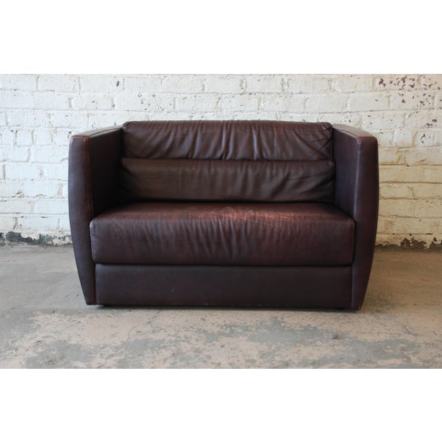 Roche Bobois Roche Bobois Bauhaus Style Leather Loveseat or Cube Chair, 1970s For Sale - Image 4 of 12