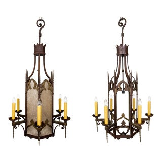 Large Antique Gothic Revival Bronze & Mica Lanterns - 2 Available For Sale