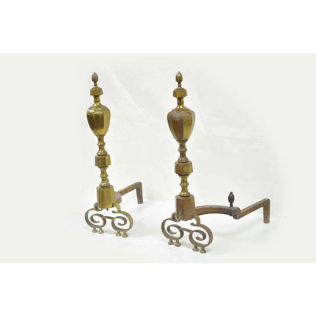 Item: Stately Antique 19th C Pair of Solid Brass American Federal Fireplace Mantle Andirons Details: Solid brass,...