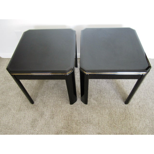 Vintage Modern Black Lacquer & Brass Tables - Pair - Image 7 of 10