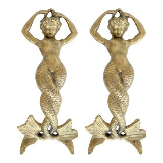 Bronze Mermaid Handles or Door Knockers - a Pair For Sale